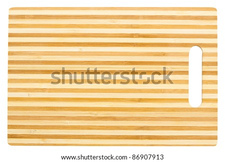 a bamboo cutting board, isolated, clipping path