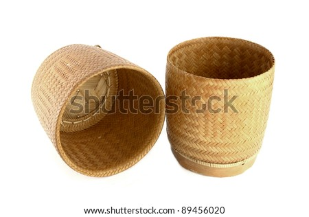 a bamboo wooden old style box for sticky rice