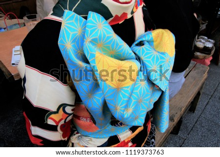A band of a bow. Brilliant and lovely kimono. A woman wearing a beautiful kimono met at Katsushika / Shibamata Taishakuten.