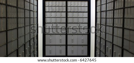 A bank of post office boxes
