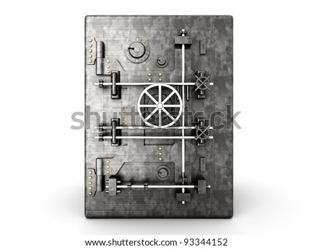 A bank safe. 3D rendered Illustration. Isolated on white.