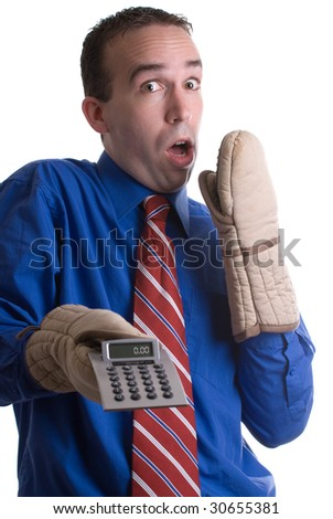 A banker saying oops after a calculation error, isolated against a white background