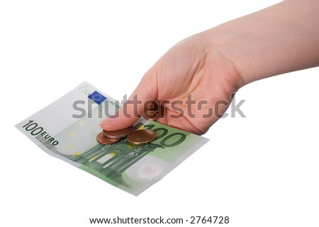 A Banknote with some coins in first-person-view on outstretched arm. Isolated on white.