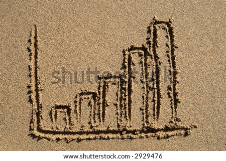 A bar chart drawn on the beach.