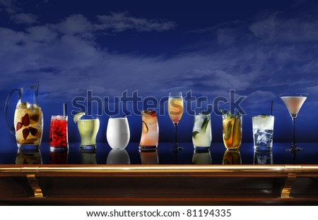 A bar with a selection of cocktails