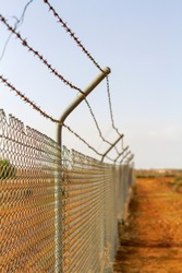 A barbed wire fence in outback Australia