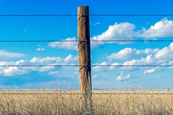 A Barbed Wire Fence on the Prairie of Eastern Colorado.