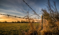 A barbed wire fence with wooden post in the countryside