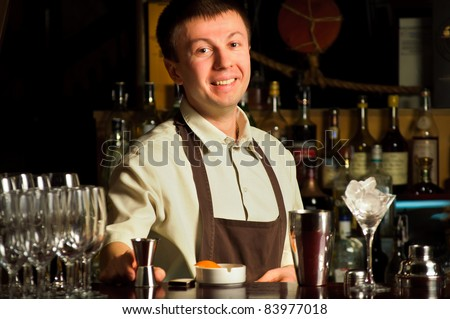 A barman at work - indoors