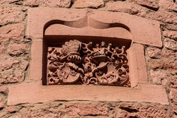 A bas-relief adorning the wall of the Haut-Koenigsbourg castle (Château du Haut-Kœnigsbourg)