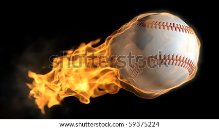 A base ball thats on fire flying through the air