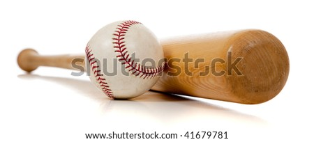 A baseball and wooden bat on a white background - stock photo