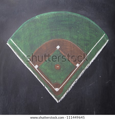 A baseball field is hand-drawn on a chalkboard.