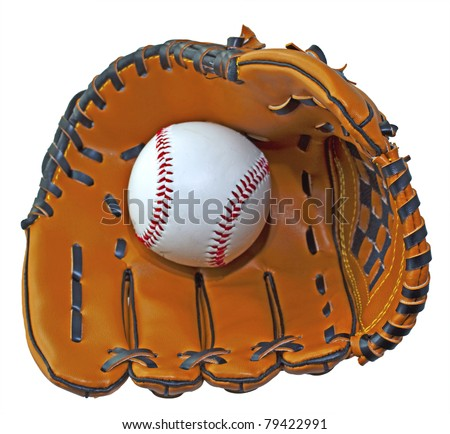 A baseball inside a baseball glove over white background