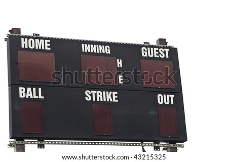A baseball scoreboard, Isolated on white