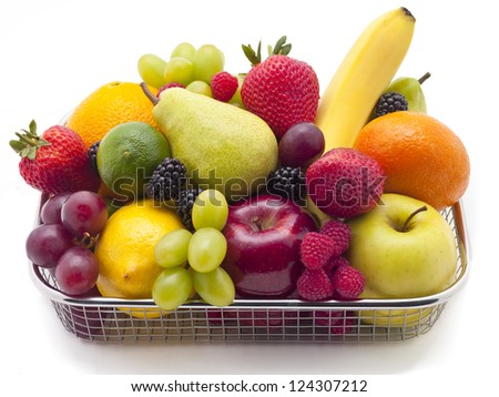 A basket filled with a variety of fruit.