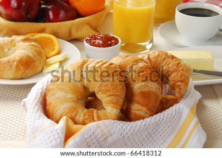 A basket of croissants with coffee, butter and fresh fruit