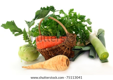 a basket of different soup vegetables