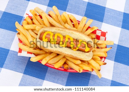 A basket of french fries and a hotdog with mustard on a tabletop covered with a checkered tablecloth.