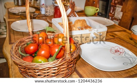 A basket of freshly picked organic tomatoes served for breakfast. #1204436236
