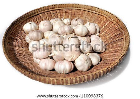 A basket of garlic bulbs