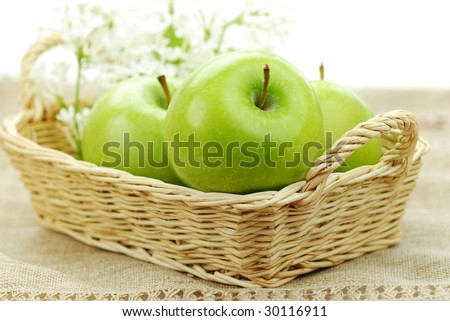 A basket of green apples.