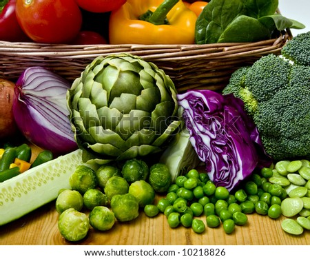 A basket overflowing with delicious fresh vegetables
