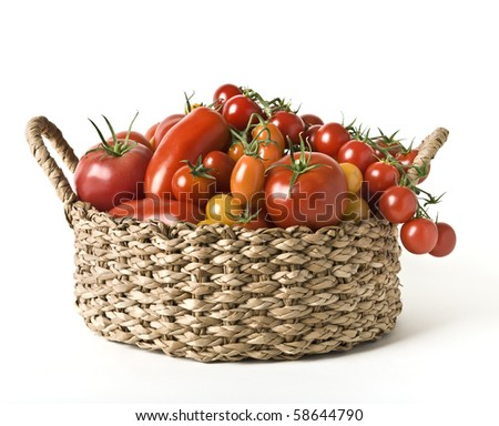 A basket with a variation of  tomatoes isolated on white