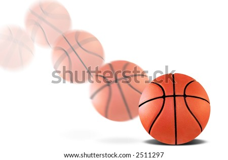 A basketball bouncing with a motion blur
