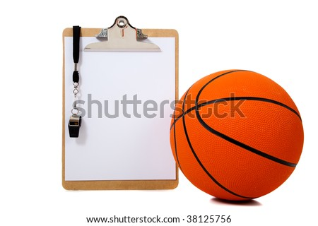 A basketball coach's clipboard with basketball and whistle on white background with copy space
