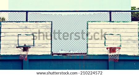 A basketball hoop and back board texture,Old Basketball ring