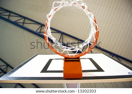 A basketball hoop in an International sport venue. Possible venue for the 2016 Olympic Games. Shallow DOF.