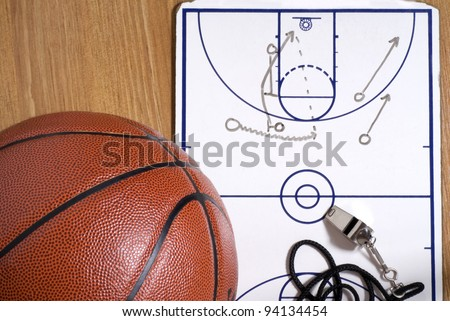 A basketball with a whistle and clipboard with an alley-oop play drawn