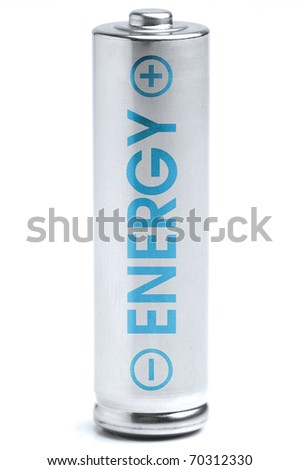 A battery. Energy supply equipment. Isolated on white background. Blue energy.