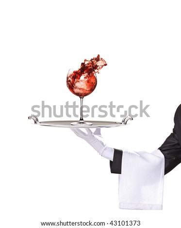 A battler holding a silver tray with wine glass isolated on white background