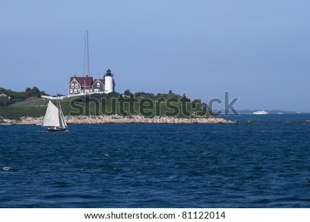 A bay view of the Nobska Lighthouse near Woods Hole, Cape Cod Massachusetts.
