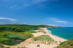 A beach at the mouth of the Veleka river.Sinemorets is a village and seaside resort on the Black Sea coast of Bulgaria, located in the very southeast of the country close to the border with Turkey