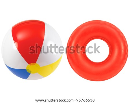 A beach ball and rubber tube together