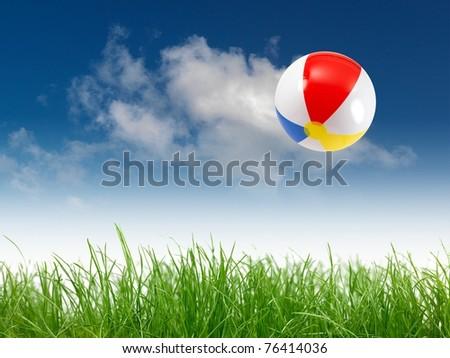 A beach ball in the sky