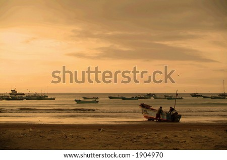 A beach in a small fishing town in South America