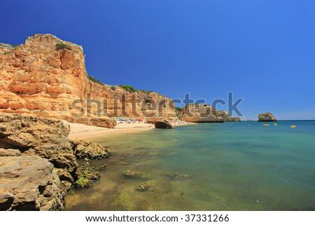 A beach praia da marinha in Algarve, Portugal