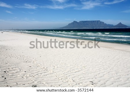 A beach with a view of Table Mountain