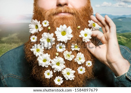 A bearded man with a decorated beard for the  holiday on a nature background. Flower in the hand. Flower in the beard. Bearded man in the mountain.