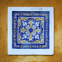 A beautiful abstract tile pattern in blue, yellow and white