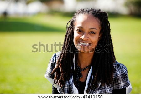 A beautiful African American with candid smile