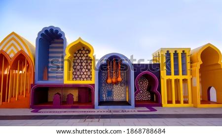 A beautiful and colourful model depicting the ancient minarets captured at the dubai creek harbour in Ras al khor, Dubai , UAE.