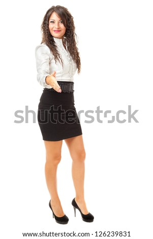 A beautiful and elegant business woman over a white background - stock photo
