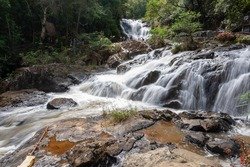 A beautiful and peaceful Datanla Waterfalls cascades, Dalat, Vietnam, Asia. Family Outdoor Activities in most favorite tourist attractions, landmarks and landscapes near Dalat City.