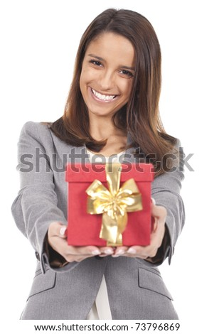 a beautiful and smiling woman holding a red box gift