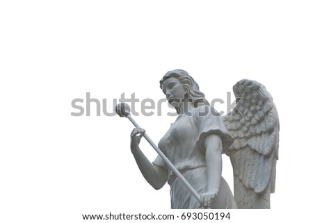 Stock Photo A beautiful angel sculpture in public park isolated on white background.